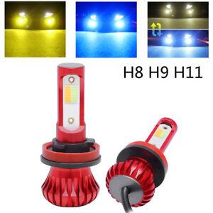 Pair H8 H9 H11 Car LED Headlight 3000K Yellow+ 8000K Blue Fog Driving Light