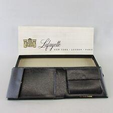 Black Lafayette Double Bifold Leather Men's Wallet in BOX