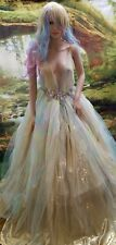 ADELE Custom Watercolor Chiffon Tulle Lace Backless Bridal Wedding Ballgown Set