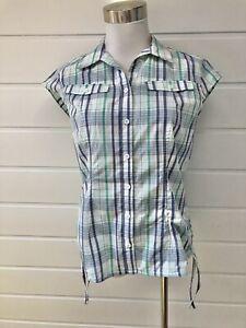 KATHMANDU Womens Blue Green White Plaid Short Sleeve Button Down Shirt - Size 10