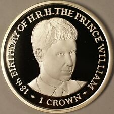 2000 Isle of Man 1 Crown Prince William Birthday Silver Coin Gem Proof Rare