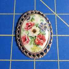 Framed Poppies Flowers~Magnetic Needle Minder Tool
