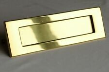 "Polished Brass Letter Plate 10"" x 3"" Victorian Door Post Box Sprung Letterplate"