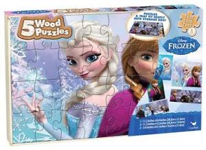 Disney Frozen 5 Wood Puzzles w/Storage Box+Tray Elsa Anna Educational Puzzle