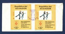 ECUADOR - # 1057A Two Olympics S/S on cover mailed to USA - 1984 - TWO SCANS