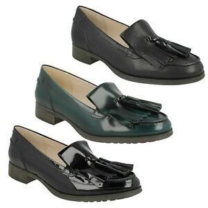 BUSBY FOLLY LADIES CLARKS LEATHER TASSEL SMART SLIP ON SHOES FLATS LOAFERS