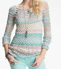 Free People New Ring of Roses Crochet Sweater Shirt Top NWT $148  Spring Sky S