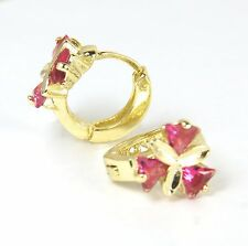 Women's 18 Carat Gold Plated Huggie Earrings with Red crystal Jewellery