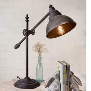 Adjustable Swing arm Desk lamp in Distressed Tin