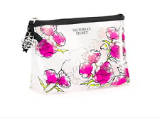 VICTORIA'S SECRET  CLEAR ROSES PINK FLORAL COSMETIC BAG MAKEUP POUCH CASE NWT