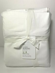 Pottery Barn Full Classic Sheet Set White 400 Thread Count NWT