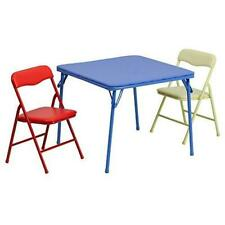Flash Furniture JB-10-CARD-GG Kids Colorful 3 Piece Folding Table and Chair Set,