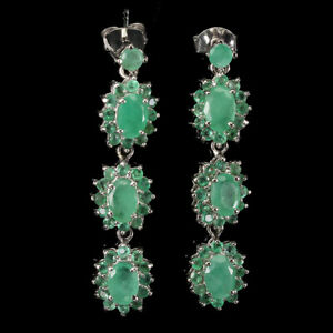 Details about  /2.70 CT Emerald Green Emerald  Drop//Dangle Earring 14K White Gold Over