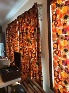 MID CENTURY MODERN DRAPES LONG PANELS Plus Extras! Geometric Atomic Abstract 60s