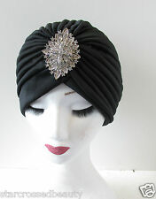 Black & Silver Turban Vintage Flapper 1920s 1930s Headpiece Diamante Downton Q21