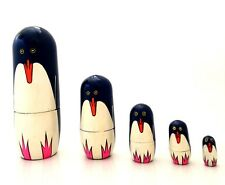 BRAND NEW HAND MADE & PAINTED RUSSIAN DOLLS PENGUIN SET 5 PIECE NESTLING DOLLS