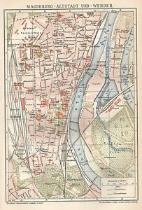 B0141 Magdeburgo - City Old - Basket Geographical Antique 1902 - Antique Map