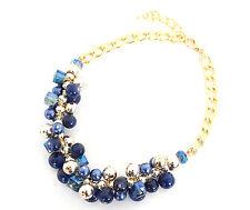 CC376 * Collier Chaîne Métal Plastron Grappe de Perles Mode Femme - Bleu