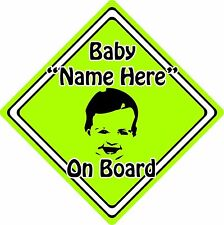 Personalised Baby/Child On Board Car Sign ~ Baby Face Silhouette ~ Neon Green