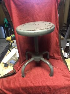 "Adjusto Mid-Century Metal Stool~Adjusts 18""-27""~13"" Diameter~360 Turn Seat~"