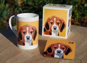 Beagle - porcelain mug gift set with coaster and gift box.
