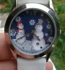Vintage snowman holiday watch,white faux leather band,silver case -snowflakes