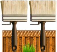 "2 x 4"" SHED FENCE & DECKING PAINT BRUSH GARDEN WALL TIMBER WOOD BLOCK PASTE WIDE"