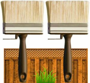 """2 x 4"""" SHED FENCE & DECKING PAINT BRUSH GARDEN WALL TIMBER WOOD BLOCK PASTE WIDE"""