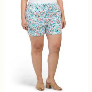 Caribbean Joe Womens High Rise Floral Shorts Viscose Drawstring Size 16 New