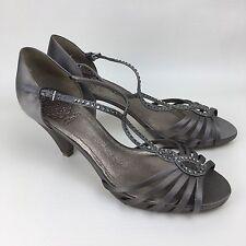 Ladies Champagne Silk Strappy Diamanté Detail Heels By Clarks Size Uk 5