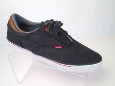 LEVIS Navy Blue Denim Canvas Sneakers Shoes Mens SZ 10 Skate Laces