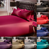 6 PIECE SATIN DUVET SET COVER FITTED SHEET BEDDING BEDROOM KING DOUBLE COMPLETE