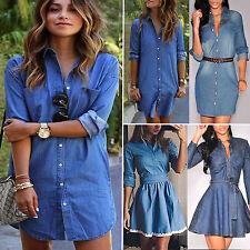 Damen langärmlig Jeans kurz Mini Kleid Freizeit V Ausschnitt Hemd Kleider Tops