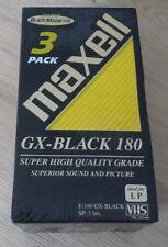 Cassette Tape Factory Sealed Maxell VHS Gx-Black 180 Magnetite Pack 3