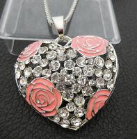 Betsey Johnson Pink Enamel Flower Crystal Heart Pendant Sweater Necklace