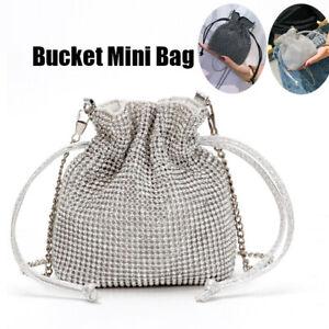 Women's Mini Bucket Shoulder Bag Wedding Evening Chain Purse Handbag Rhinestone