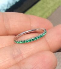 0.60 Ct French Pave Green Emerald Half Eternity Wedding Band Real 14k White Gold