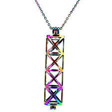 C175 Cross Long Rectangle Locket Necklace - Beads Cage - Rainbow Chain