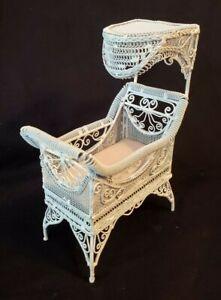 Vintage Dollhouse Miniature Wicker Canopy Baby Crib WIRE 1:12
