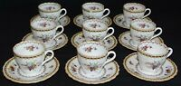 Spode England Rockingham Set of 9 Demitasse Cups & Saucers Bone China
