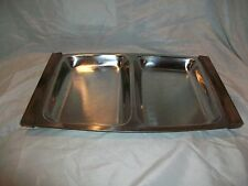 Vintage Danish Denmark Stainless Steel Serving Tray Snack Wood Handle Modern