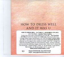 (DR645) How To Dress Well, & It Was U - 2012 DJ CD