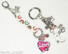 #6333 -- HORSE BOOT HEART STAR CHARM FLORAL RIBBON KEY CHAIN SET -WOW!