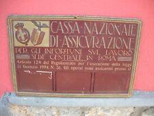 CASSA NAZIONALE DI ASSICURAZIONE Tabella LITOGRAFATA Rilievo ORIGINALE 1930
