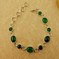 Sterling silver Aventurine gemstone cabochon link bracelet