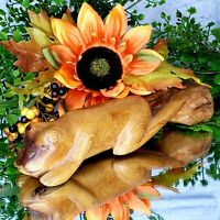 VINTAGE Frog Figure Toad Sculpture Wooden Gift Display Hand Carved
