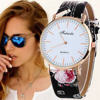 Fashion Women Lady Watch Stainless Steel Leather Analog Quartz Dial Wrist Watch