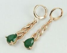 Rose Gold Filled Long Drop Dangle Green Crystal Huggie Earrings