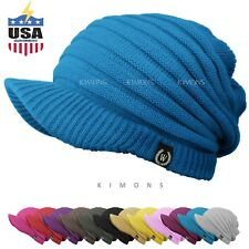 S - Visor Beanie Solid Knit Slouchy Baggy Crochet Ski Winter Hat Cap Man Women