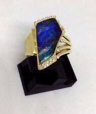 Opalring mit Boulder-Opal und Brillanten Gr 59  Gelb-gold 585